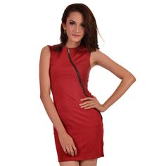 Red cotton stretch dress with cap sleeves. Front asymmetrical style metal zipper.