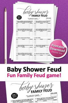 Baby Shower Signs, Baby Shower Games, Baby Boy Shower, Gender Neutral Baby Shower, Floral Baby Shower, Printable Party, Baby Shower Printables, Family Feud Game, Holiday Party Games