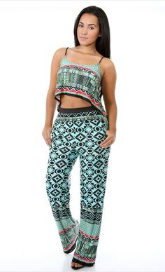 Minty Crop Top and Pants Set