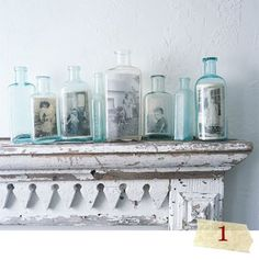 wonderful idea; i think it'd be best to make high-quality copies of the old family photos to put in the jars rather than the originals, of course.