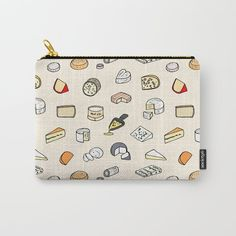 Cheese Pattern Carry All Pouch / Travel & Pencil Pouch by Laura Frere - Small x Pouch, Wallet, Graphic, Carry On, Coin Purse, Cheese, Purses, Stuff To Buy, Patterns