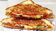 Pizza sandwich is extremely simple and it hardly takes minutes to prepare it. The recipe is completely open-ended and can be prepared with choice of veggies. It is so simple that even . Corn Sandwich, Grilled Sandwich Recipe, Cheese Sandwich Recipes, Lunch Box Recipes, Snack Recipes, Healthy Recipes, Healthy Food, Veg Pizza, Good Pizza