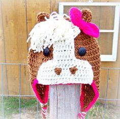 Crocheted Brown Horse Hat by AlvinaJane on Etsy, $19.00