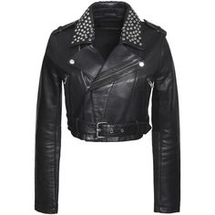 MAJE  Bloodya cropped studded leather biker jacket (2.790 NOK) ❤ liked on Polyvore featuring outerwear, jackets, crop leather jackets, asymmetrical zipper jacket, moto jacket, studded moto jacket and leather motorcycle jacket