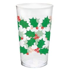Plastic Holly 16 ounce Tumblers, 25pk, Clear