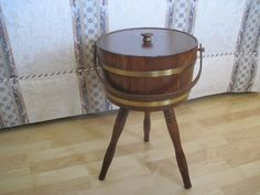 Wooden Barrel Shaped Sewing  Caddy with Lid by fatcatvintage, $55.00