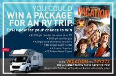 Win a gift card for a RV Rental, gift card for gas, Kampground of America Vouchers, video games, Blu-Ray combo packs, and Redbox rental codes!                            #Sweepstakes, #Vacation, #Giftcard, #Redbox, #Movie, #VideoGame, #Giftcode