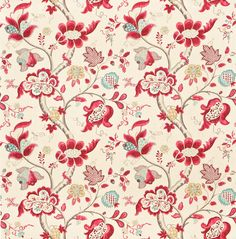 Roslyn (DVIPRO204) - Sanderson Fabrics - Based on the original William Turner early 20thC design, a classic Sanderson design with its intricate patterned Jacobean floral trail. Shown in the Berry / Slate colourway. Please request sample for true colour match.