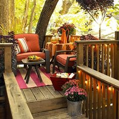 Add A String Of Outdoor Lights To Porch Railings Illuminate Your Backyard Decorations And Landscaping On Any Crisp Fall Night