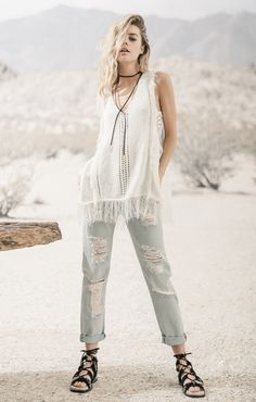 FRINGED SWEATER TOP WITH TIE STRAP