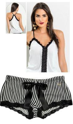 Love these shorts Lingerie Fine, Cute Lingerie, Beautiful Lingerie, Women Lingerie, Lingerie Sleepwear, Nightwear, Ropa Interior Boxers, Pijamas Women, Pyjamas