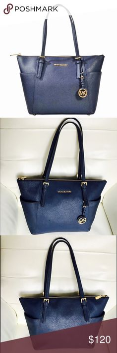 🎀MIchael Michael Kors Jet Set blue tote🎀 MIchael Michael Kors Jet Set blue tote in perfect used condition some signs of wear in the inside pen marks as well as the last pic CHECK PICS FOR CONDITION 0145820876 10 Strap Drop9.5 MICHAEL Michael Kors Bags Totes