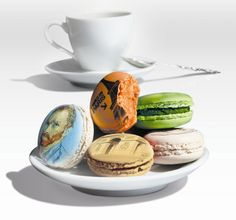 Macarons with French illustration