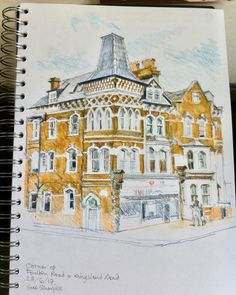 S 'Fruity architecture' by Sue Sharples. My A4 sketch of this corner site which has captured my imagination over time. Lovely, fruity detailing & just round the corner from me. Rendered in pencil & caran d'ache over which l gave a light wash. Corner of Foulden & Kingsland Road.