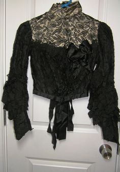 Vintage Victorian Black Blouse with 4 Kinds by VictorianWardrobe, $150.00