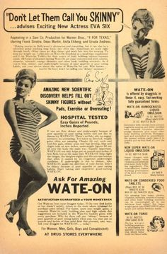 embrace you curves! vintage ads that promote weight GAIN. lol