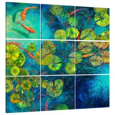 JaxsonRea 'Nueve' by Iris Scott 9 Piece Painting Print on Wrapped Canvas Set Size: Artist Painting, Painting Frames, Painting Prints, Art Prints, Paintings, Carpe Koi, Glass Printing, Finger Painting, Fish Art