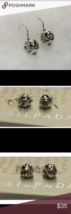 "Silpada SS simple delight filigree ball bead drop Silpada drop/dangle .925 SS approximately 1"" Silpada Jewelry Earrings"