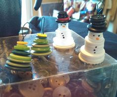Button tree and snowman ornaments