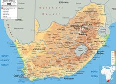 Map of South Africa and South African Physical Map