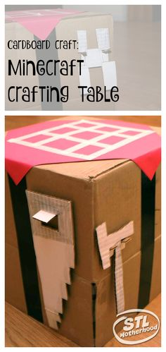 Crafty kids will love this idea for DIY Minecraft crafting table...simple tutorial to recycle a box into a fun toy.