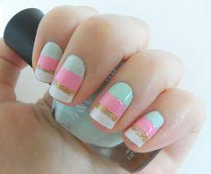 Sherbert Ice cream nail polish! #Nailart #glitter #pastelnails - bellashoot.com
