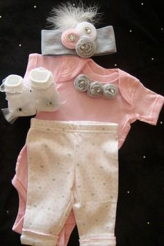 Newborn BABY girl outfit set layette onesie by BeBeBlingBoutique, $40.00