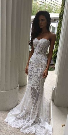 Charming White Lace Wedding Dress,Sexy Sweetheart Bridal Dress,Sexy See Through Wedding Dress