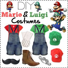 DIY Mario and Luigi Costumes by harnix on Polyvore featuring rag & bone, Dorotennis, Topshop, Fat Face, Blu Bijoux, Courrèges, Halloween, contest, polyvorecontest and DIYHalloween