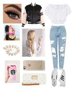 """""""umm"""" by jordanmatute ❤ liked on Polyvore featuring Miguelina, Topshop, adidas, Moschino, Casetify and MICHAEL Michael Kors"""