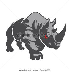 Angry rhino on the white background.