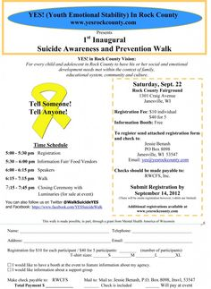 If you're in the area, please re-pin for awareness!     YES! Suicide Awareness and Prevention Walk for Rock County