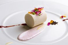 Vanilla – Earl Grey Parfait, Lemon Cream, Violet Meringue and Blueberry Puree    LE BERNARDIN    Executive Pastry Chef  Michael Laiskonis