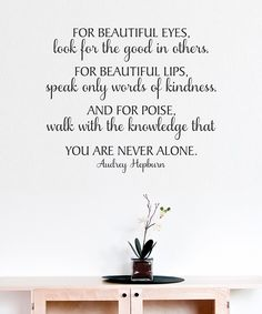 Audrey Hepburn Black 'For Beautiful Eyes' Wall Quote from Belvedere Designs