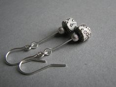 Newspaper dangle earrings *** subtle handmade eco-friendly paper jewelry *** 1st wedding anniversary gift for her