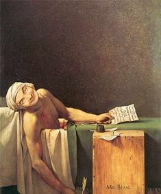 A great poster of the famous Jacques-Louis David painting The Death of Marat! Journalist and hero of the French Revolution. Johannes Vermeer, Jacque Louis David, David Painting, Classic Paintings, Chef D Oeuvre, Ap Art, Classical Art, Star Wars Characters, Art History