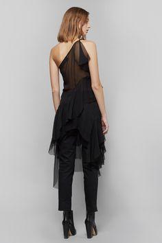 Marques'Almeida One Shoulder Chiffon Dress | Apiece Apart Camilla High-Waisted Trouser | Rachel Comey Seton Heeled Boots | My Chameleon