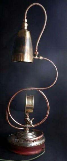 "Steampunk Brassworks unique table lamp, ""Coiling""."