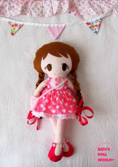 Little Miss Jane Dress up Fabric Cloth Doll  by GizusDollWorld, $40.00