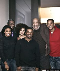 Family guy: Will Smith looked delighted to be spending time with his old Fresh Prince chums, from left Tatyana Ali (who played Ashley Banks), Karyn Parsons (Hilary), Alfonso Ribeiro (Carlton) and James Avery (Philip) Will Smith, Fresh Prince, Ines Gomez Mont, Prinz Von Bel Air, Air Cast, Karyn Parsons, Alfonso Ribeiro, Tatyana Ali, After Earth