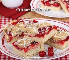 http://www.bestyummyrecipes.com/cherry-bar-dessert/  Cherry Bar Dessert  60 ServingsPrep: 20 min. Bake: 30 min. + cooling