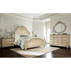 American Drew Jessica McClintock Boutique Queen Mansion Bed in White Veil Finish