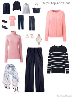 adding garments to a navy an coral travel capsule wardrobe Travel Capsule, Travel Wear, Travel Style, Travel Packing, Packing Tips, Vacation Packing, Cruise Vacation, Disney Cruise, Travel Tips