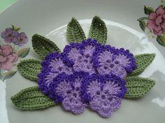 Crochet Applique pansy.... $7.50, via Etsy.