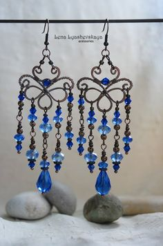 Лена Ляшевская - Я - рыба.. Wire Wrapped Earrings, Wire Earrings, Chandelier Earrings, Metal Jewelry, Beaded Jewelry, Beads And Wire, Chainmaille, Handmade Accessories, Making Ideas