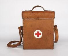 Vintage Leather First Aid Case / Red Cross Medical Bag / Military Bag / 50's Yugoslavia / Brown Genuine Leather