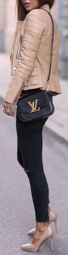 Edgy carmel jacket, black jeans