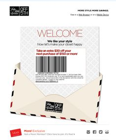 Welcome to OFF 5TH! $30 Coupon Inside