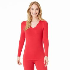 Women's Cuddl Duds Softwear with Stretch V-Neck Top, Size: