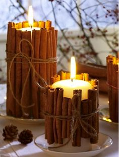 Cinnamon wrapped rapeseed eco candles. As the candle burns down it warms the cinnamon and releases the natural fragrance from the sticks. Available at :- https://www.facebook.com/groups/EdenDaye/